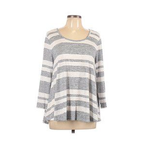 ⚡Sonoma Striped Top Comfy Blue 3/4 Sleeve Top L
